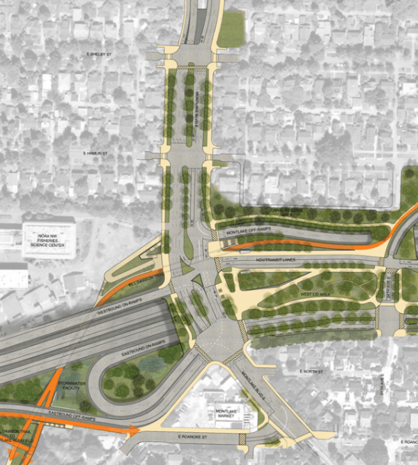 The 520 Montlake Interchange will be a formidable obstacle. Image courtesy of WSDOT.