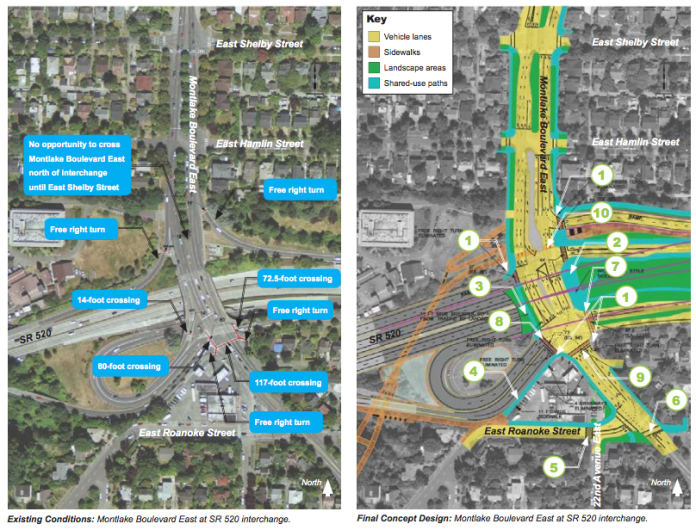 Existing conditions and final concept of the Montlake Interchange. (WSDOT)