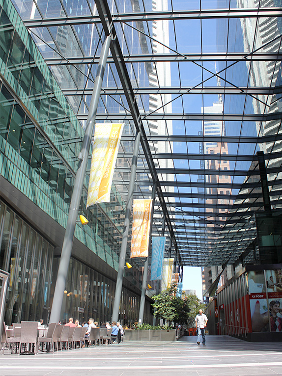 The Southern Cross Tower development incorporates a pedestrian connection through the block which references Melbourne's laneways. Photo by Sarah Oberklaid.