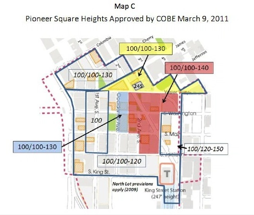 Current Pioneer Square building height limits, as changed in 2011
