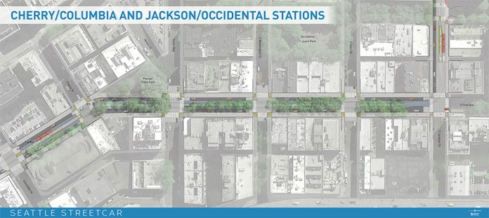 Cherry/Columbia & Jackson/Occidental stations