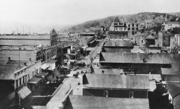 Denny Hill as seen from Pioneer Square, 1884. (City of Seattle)