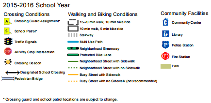 Walking and biking map key. (City of Seattle)