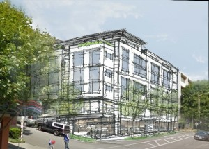 This is a sketch of Bellwether Housing's plans for its 71 affordable apartments at 1511 Dexter Avenue.