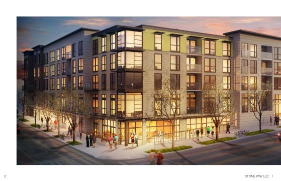 Stone Way Apartments will include six commercial spaces at street level. The building is still partially curtained but appears to be nearing completion. (Stone Way LLC)