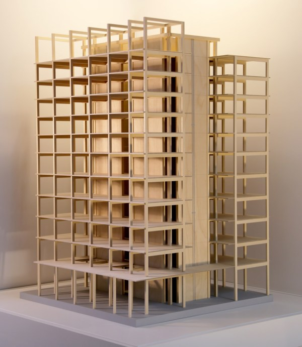 The 12-story Framework tower's cross section shows the elegance possible in a cross laminated timber frame. (Lever Architecture)