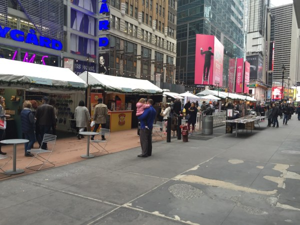 Popup holiday market in the Garment District. (Photo by Stephen Fesler)