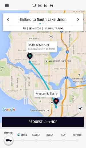 Non-stop uberHOP from Ballard to South Lake Union.