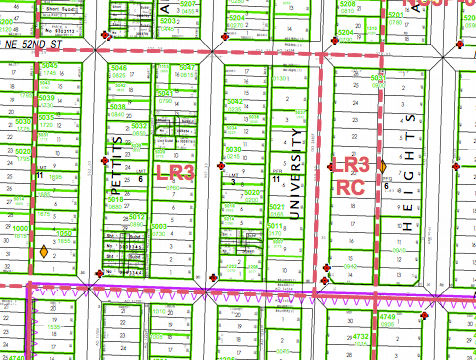 Current zoning in the University Heights area. (City of Seattle)