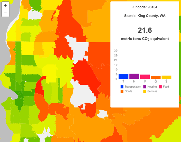 Average annual household carbon footprint (2013) for the 98104 zipcode. (UC Berkeley CoolClimate Network)