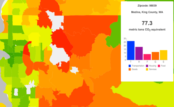Average annual household carbon footprint (2013) for Medina is off the charts. (UC Berkeley CoolClimate Network)