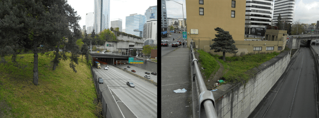 """Just two examples of fenced """"dead spaces"""". Left: between Pike Street and Boren Avenue (behind Plymouth Pillars Park). Right: behind the low-income housing Olive Tower on Boren Avenue. Spaces like these can easily be upgraded for formal, temporary public uses. (Photos by the author)"""