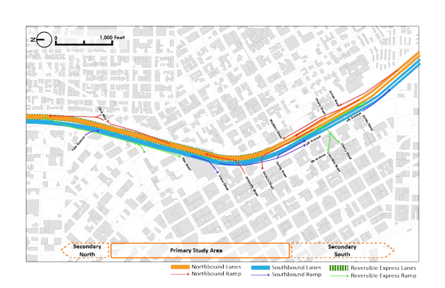 A visualization of I-5's complex weave of ramps and lanes. (Graphic by the author)