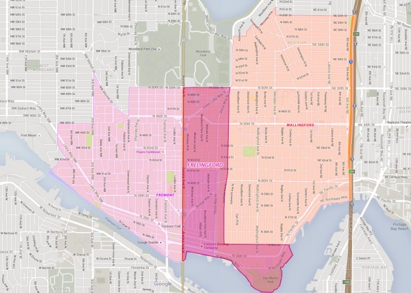 Frelingford becomes a boot shape neighborhood with the inclusion of the Gas Works Park area. (Graphic by Justin Roth)