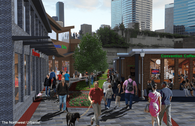 A conceptual pedestrian lane over I-5 between Pike Street and Pine Street, tying into the Pike-Pine commercial corridor and proximity to the busy Convention Center. Click to enlarge and see a before-and-after view. (Graphic by the author)