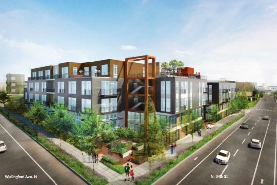 The buildings at 3400 and 3326 Wallingford Avenue will collectively 212 apartments and 27 live-work units. (AMLI Residential Partners)