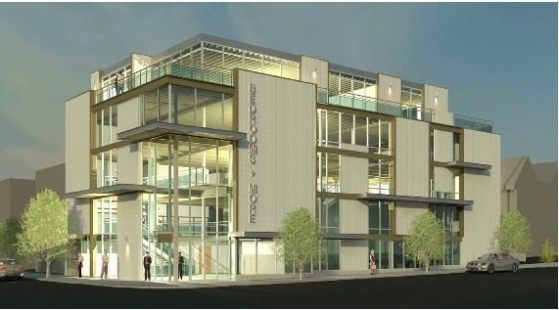 This building will function as Bedrooms & More's showroom, its office space, and the owners will even live in the fourth floor condo. That's a very personal approach to mixed-use development! (Stuart Silk Architects)