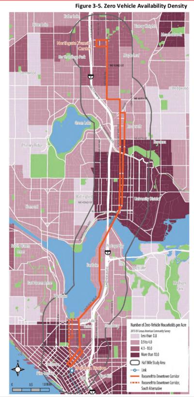 Zero vehicle household density. (City of Seattle)