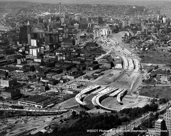 Building I-5 decimated Seattle neighborhoods it crossed. (WSDOT)