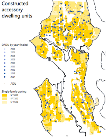 Location of backyard cottages finaled by year. (City of Seattle)
