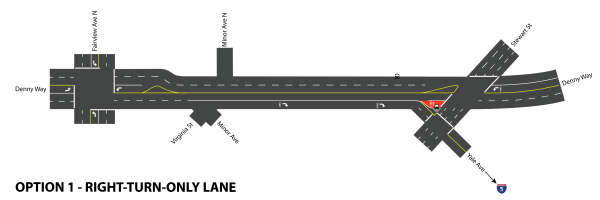 Denny Way with right-turn-only lane. Click for larger version. (Graphic by Scott Bonjukian)