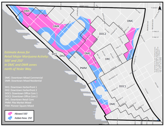Areas in Downtown Seattle where marijuana retail establishments will be allowed. (City of Seattle)