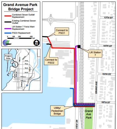 The project scope for the Grand Avenue Park pedestrian bridge. (City of Everett)