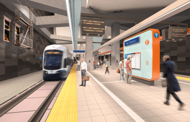 Rendering of the station platform. (Sound Transit / LMN Architects)