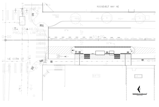 Proposed layout of NE 65th St and Roosevelt Way NE. (City of Seattle)