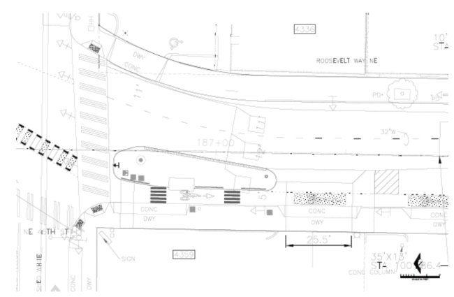 Proposed layout of NE 45th St and Roosevelt Way NE. (City of Seattle)