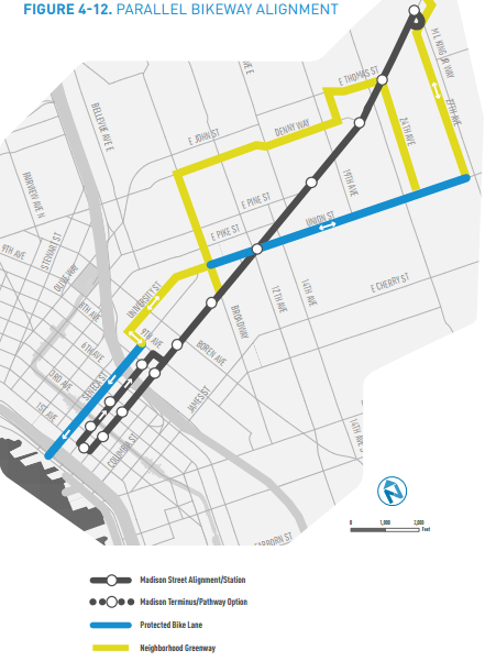 The proposed bike network to go with the Madison BRT project (City of Seattle)