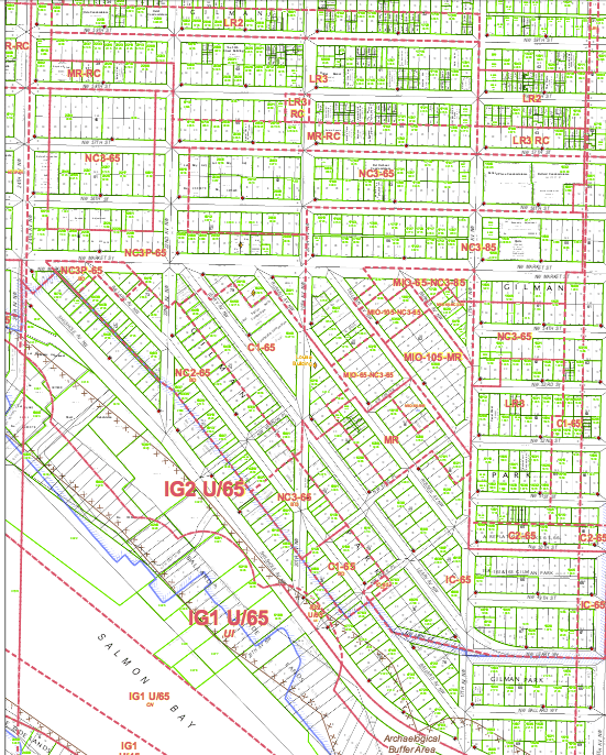 Ballard includes an area zoned to NC-85 in the vicinity of 17th Avenue and Market Street that could go to a height limit of 125 feet. (DPD Map 54)
