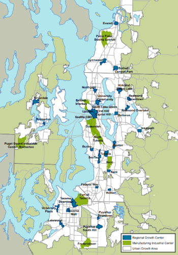 Regional growth centers throughout PSRC jurisdictions. (Puget Sound Regional Council)