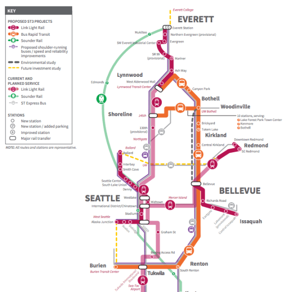 A portion of the Draft Plan expansion proposal. (Sound Transit)