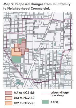 Proposed rezones in the civic core of Lake City. (City of Seattle)
