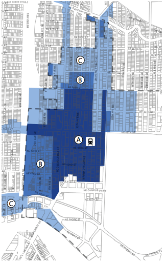 Phasing of MHA requirements: A and B, 2016 rezone; C, 2017 citywide rezones. (City of Seattle)