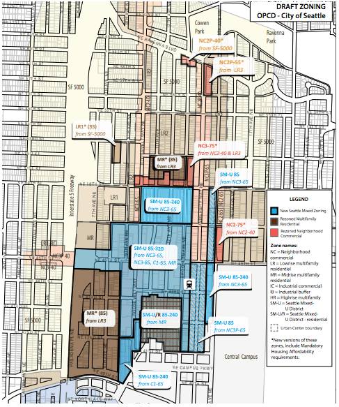 Proposed rezone for the University District. (City of Seattle)