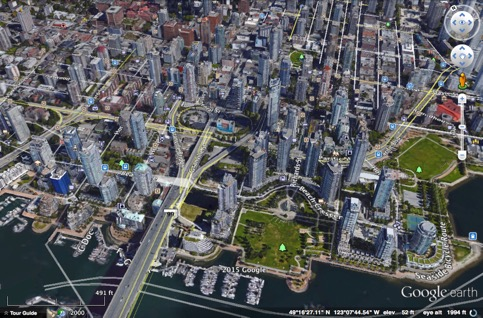 Yaletown, Vancouver, BC (Credit: Google Earth)