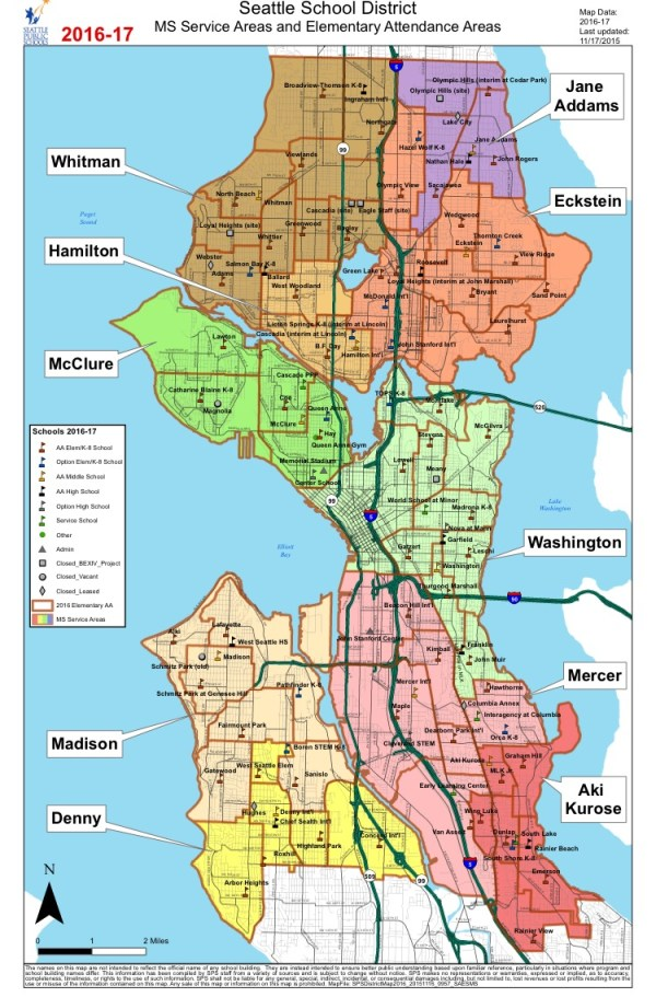 No schools exist in the central core. The closest to Downtown is Bailey Gatzert Elementary School to the east or John Hay Elementary School to the north and atop Queen Anne Hill. Building a joint elementary and middle school would solve that discrepancy. (Seattle Public Schools)