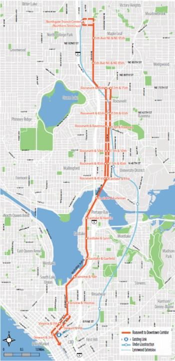 Roosevelt HCT corridor. (City of Seattle)