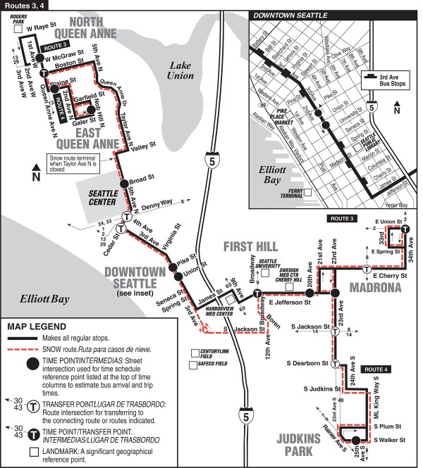 Current Route 3/4 Route Map (King County Metro)