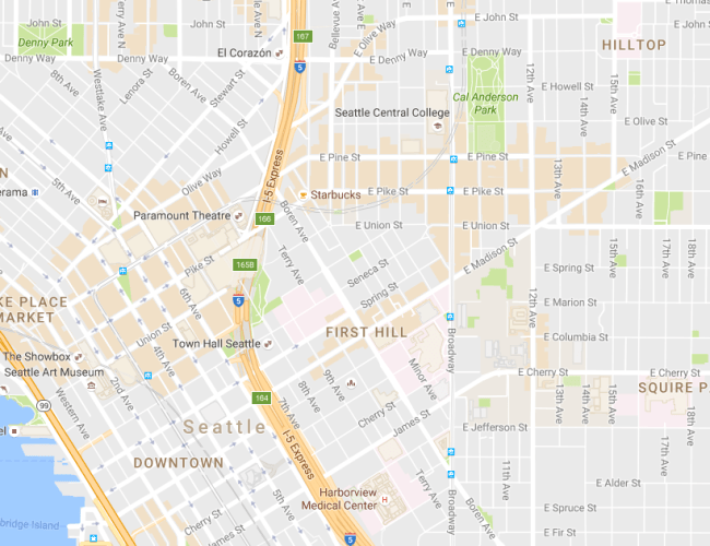 Latest version of Google Maps featuring central Seattle. (Google Maps)