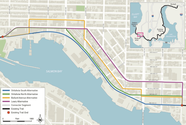 The alternatives being considered for the missing Burke Gilman trail segment (City of Seattle)