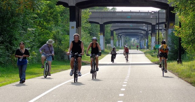 Minneapolis' Midtown Greenway has been recognized as a national model for off-street bike trails. (The Greenway Guy)