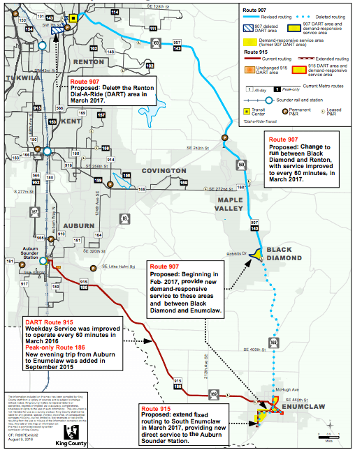 Past and future changes to rural bus service in Southeast King County. (King County)