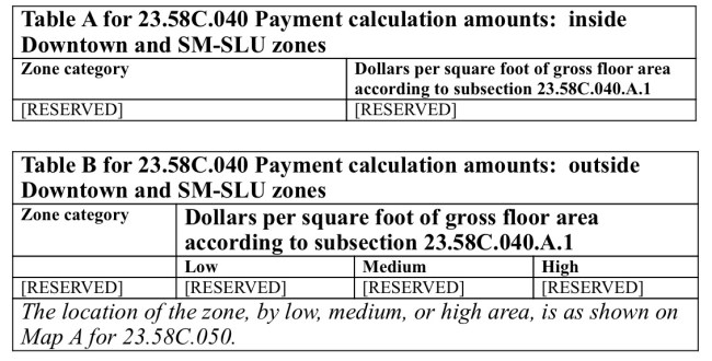 Cash payment option rates are reserved in the proposed legislation until future rezones establish them. (City of Seattle)