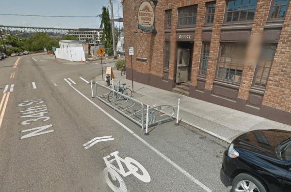 The bike corral outside of Essential Baking in Wallingford. (Google Maps)