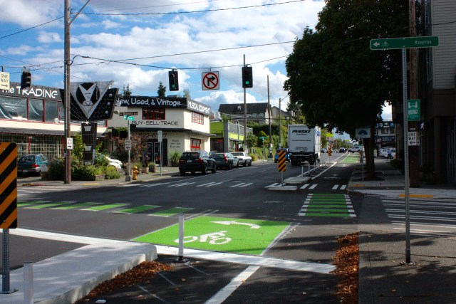 Bicyclists of the world rejoice: a PBL that connects to another PBL (Ravenna Boulevard).