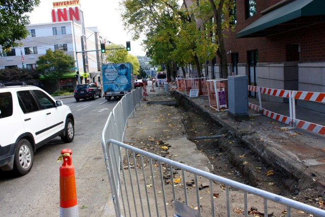 This utility work near 42nd St is one reason the Roosevelt PBL isn't all the way open.