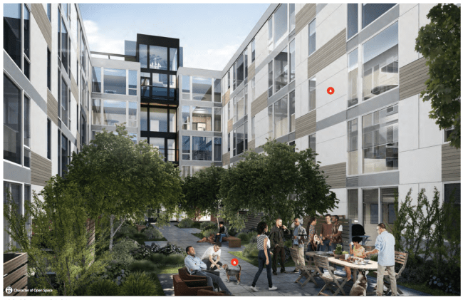 Rendering of the interior courtyard of 2220 E Union St. (City of Seattle / Weinstein)